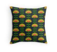 Retro Blumen blau Throw Pillow