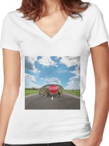 figure of a young hippo on deserted road Women's Fitted V-Neck T-Shirt