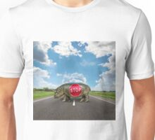 figure of a young hippo on deserted road Unisex T-Shirt