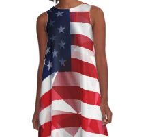 United States flag low poly pixcel texture by MrN A-Line Dress