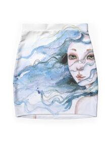 """Lily"" Surreal Watercolor Portrait Mini Skirt"