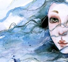 """Lily"" Surreal Watercolor Portrait Sticker"