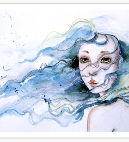 """Lily"" Surreal Watercolor Portrait Sticker"