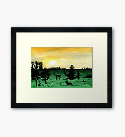 Scottie Dog 'Woodland Walk' watercolour Framed Print
