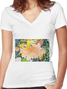 Autumn leaves as a background Women's Fitted V-Neck T-Shirt