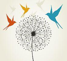 Dandelion and bird by Aleksander1