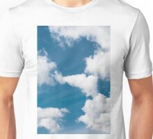 raised clouds on a blue sky Unisex T-Shirt