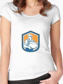 Cheesemaker Holding Parmesan Cheese Retro Women's Fitted Scoop T-Shirt