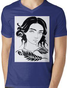 girl portrait water color Mens V-Neck T-Shirt