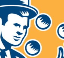 Juggler Juggling Balls Shield Woodcut Sticker