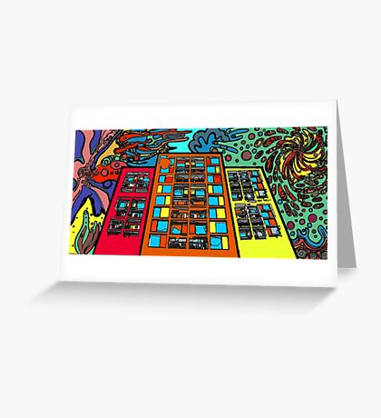 psychedelic building 60s inspired Greeting Card