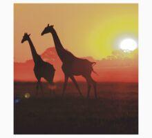 Giraffe - Sunset Gold and Harmony - African Wildlife T-Shirt