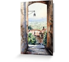 Between houses in Assisi Italy Greeting Card