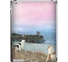winter beach and castle view with dogs iPad Case/Skin