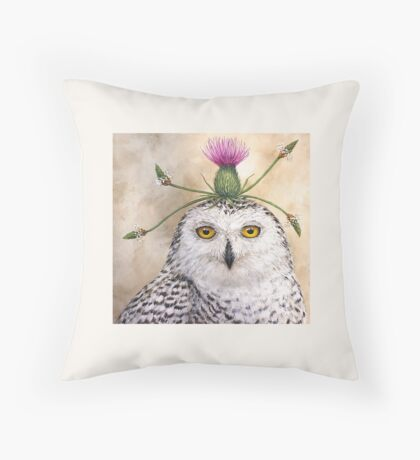 Cleveland, the snowy owl with thistle Throw Pillow