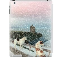 winter beach and castle view with two dogs iPad Case/Skin