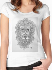 Doodled Lion Women's Fitted Scoop T-Shirt