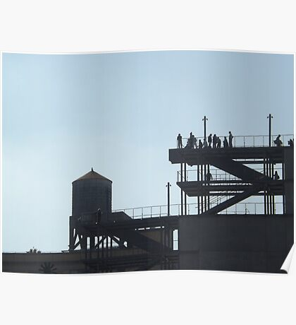 Outdoor Stairs, Water Tank, New York City Poster