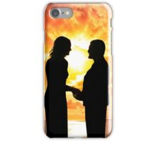 young loving couple holding hands in silhouette iPhone Case/Skin