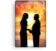 young loving couple holding hands in silhouette Canvas Print