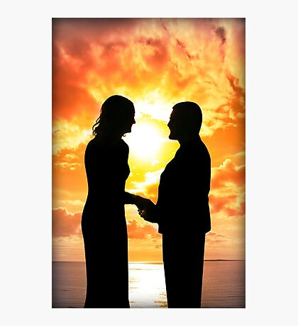 young loving couple holding hands in silhouette Photographic Print