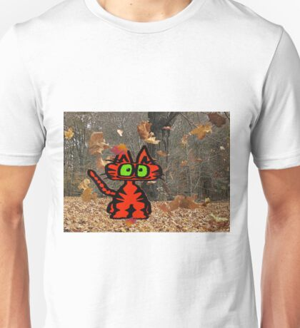 Cat Plays On A Fall Day Unisex T-Shirt