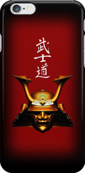 Gold Kabuto (Samurai helmet) phone cases by Steve Crompton