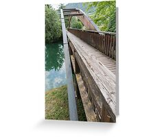 wooden bridge on the lake Greeting Card