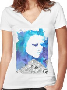 Dreaming Blue  Women's Fitted V-Neck T-Shirt