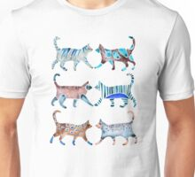 Cat Collection – Blue & Brown Palette Unisex T-Shirt