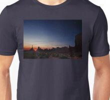 Moon watches sun rise at Totem Pole Unisex T-Shirt