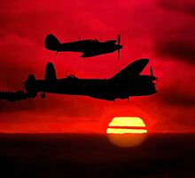BBMF Vic Sunset Silhouette Montage by Colin Smedley
