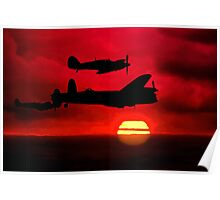 BBMF Vic Sunset Silhouette Montage Poster