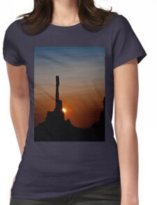 Sun peeks behind Totem Pole Womens Fitted T-Shirt