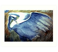 the blue crane moves with tender foot and seeing eye Art Print