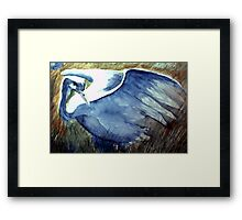 the blue crane moves with tender foot and seeing eye Framed Print