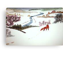 Mr. Fox went to catch mice Canvas Print
