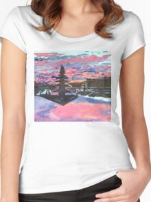 Temple Sunset  Women's Fitted Scoop T-Shirt