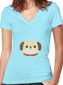 Cute puppy Dog with red collar Women's Fitted V-Neck T-Shirt