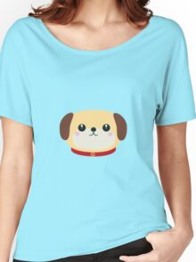 Cute puppy Dog with red collar Women's Relaxed Fit T-Shirt