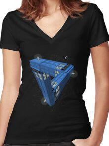 Doctor Who - Impossible Call Box Women's Fitted V-Neck T-Shirt