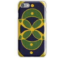 Green and Blue Sacred Geometry Overlapping Circles iPhone Case/Skin