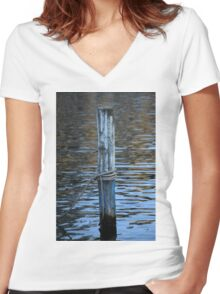 docking on lake Women's Fitted V-Neck T-Shirt