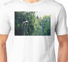Great Blue Heron Flying Past the Trees Above Trojan Pond 2 Unisex T-Shirt