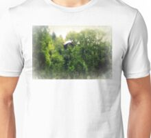 Great Blue Heron Flying Past the Trees Above Trojan Pond Unisex T-Shirt