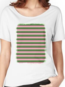 Pink Roses in Anzures 3 Stripes 2H Women's Relaxed Fit T-Shirt