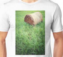 bale of straw in grassland Unisex T-Shirt