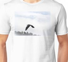 Great Blue Heron Flying Past the Clouds Above Trojan Pond 5 Unisex T-Shirt