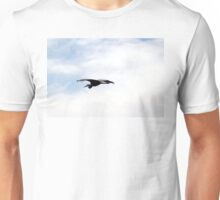 Great Blue Heron Flying Past the Clouds Above Trojan Pond 4 Unisex T-Shirt