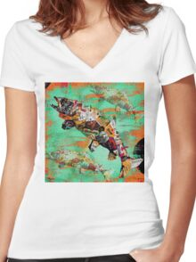 FISH AND BOURBON Women's Fitted V-Neck T-Shirt